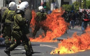 Latest news on protests in greece, violence erupts
