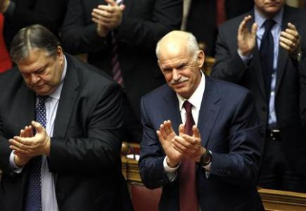 PM George Papandreou wins a vote of confidence in the Greek parliament in Athens